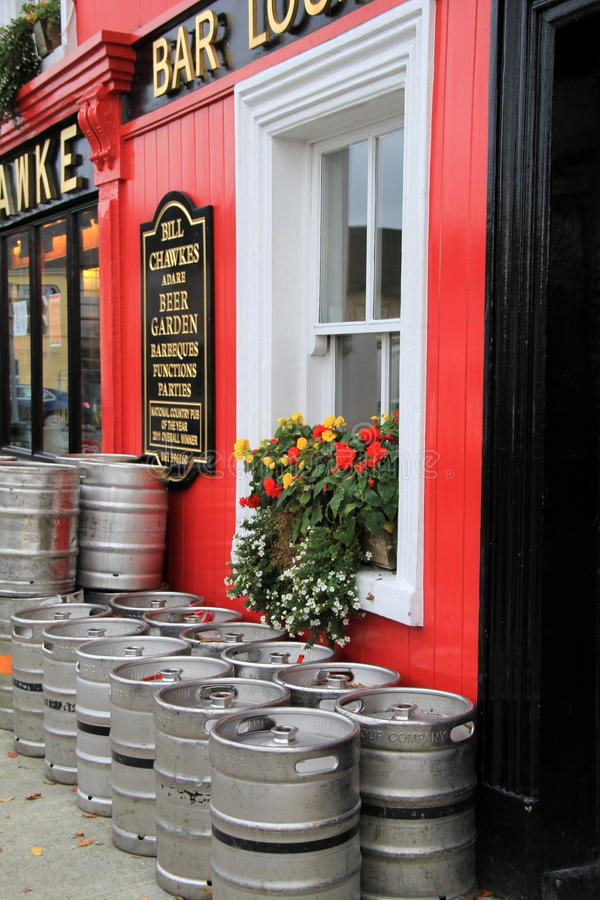 Bright and colorful entry to Bill Chawke Bar and Beer Garden,Adare,Ireland,October,2014. Bright and colorful front entrance of Bill Chawke Bar and Beer Garden royalty free stock photos