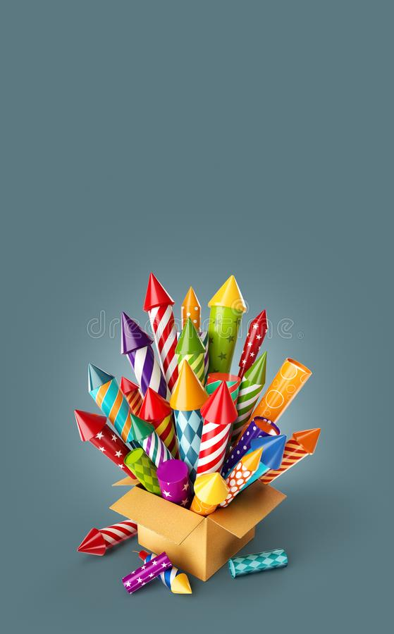 Bright colorful fireworks rockets in a box. vector illustration