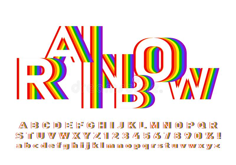 Bright and colorful font in rainbow colors royalty free stock images