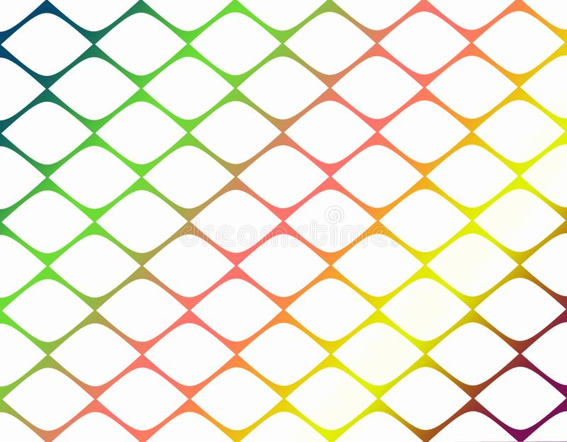 Bright colorful geometric abstract grid pattern background paper illustration. A diagonal geometric grid abstract pattern background illustration has a bright stock illustration