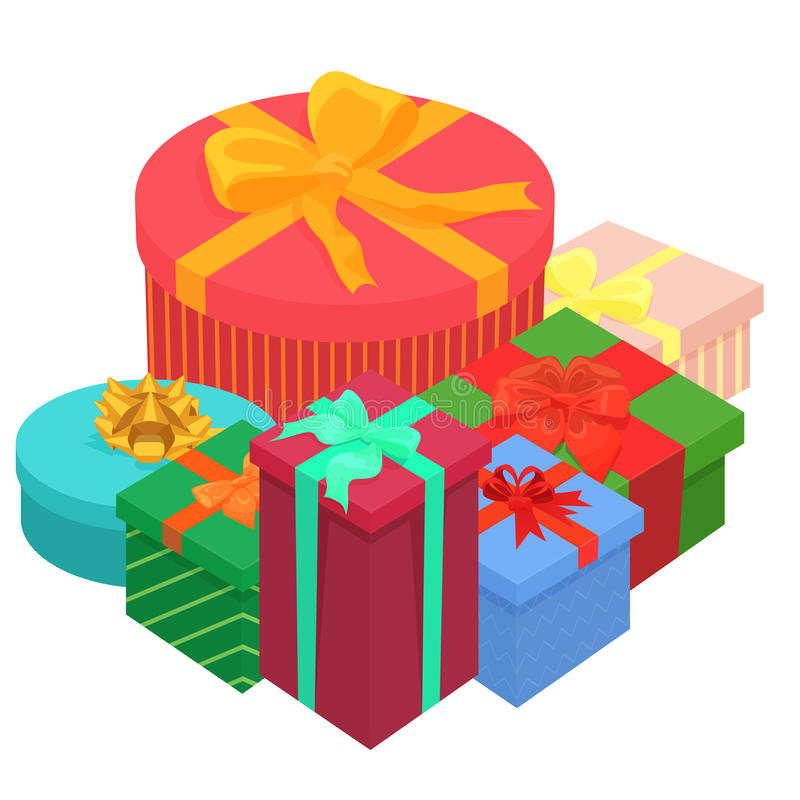 Bright colorful gifts presents boxes. Flat isometric illustration on white background. vector illustration