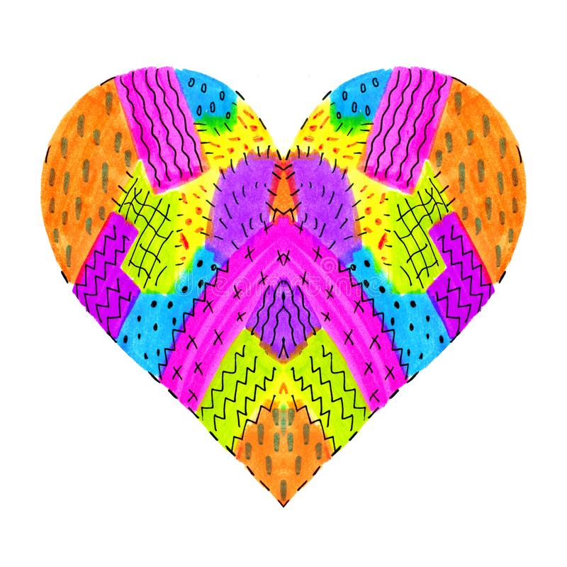 Bright colorful heart with abstract pattern. Bright colorful love symbol with abstract pattern on white background vector illustration