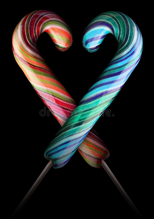 Bright colorful lollipop over black background. Isolated royalty free illustration