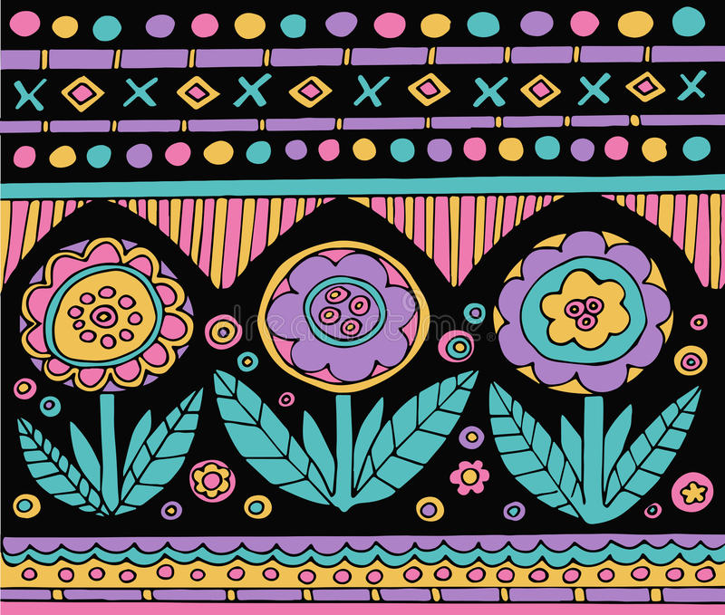 Bright colorful mexican pattern with flowers stock illustration