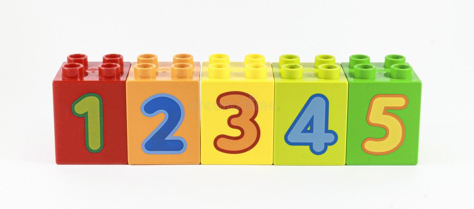 Numbers in order from 1 to 5 shown on the constructor. teaching children counting royalty free stock image