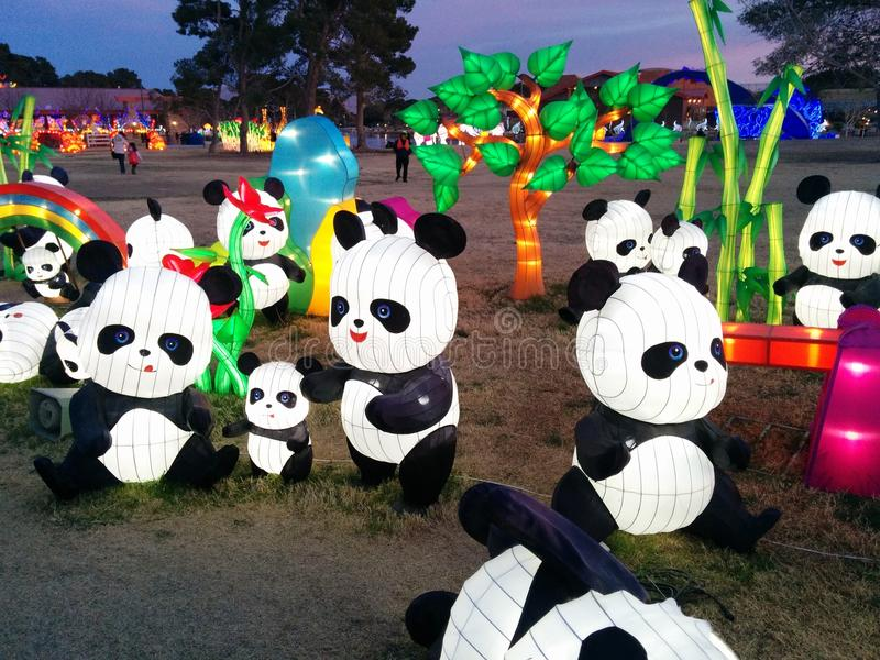 Pandas with tree and rainbow at Chinese lantern festival stock photos