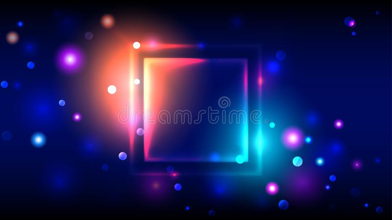 Bright colorful party background abstract neon glowing frame, multicolor square place for text, bokeh royalty free illustration