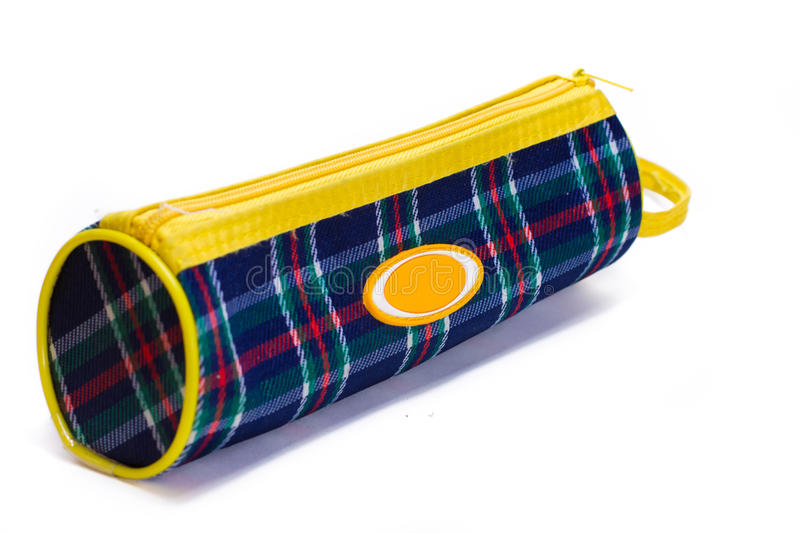Bright colorful pencil case. On white background royalty free stock photography