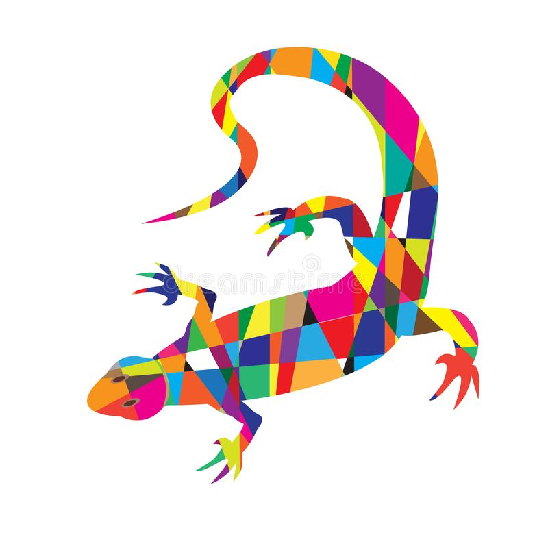Bright colorful picture with the mosaic lizard isolated stock illustration