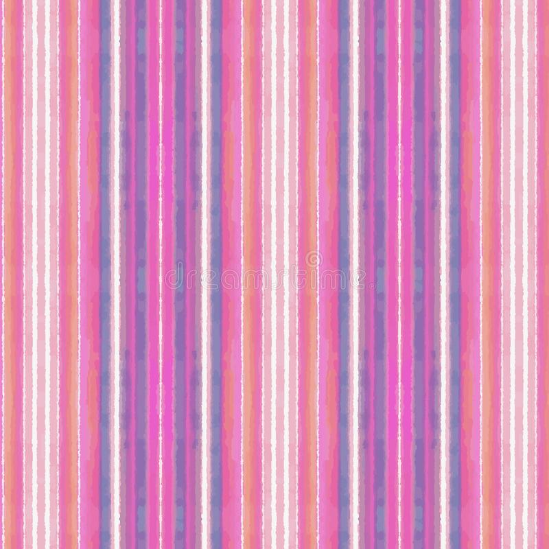 Bright colorful pink and blue watercolor textured stripes in a repeating pattern royalty free illustration