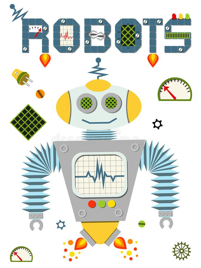 Bright colorful poster with vintage robot and tech isolated on white background. vector illustration