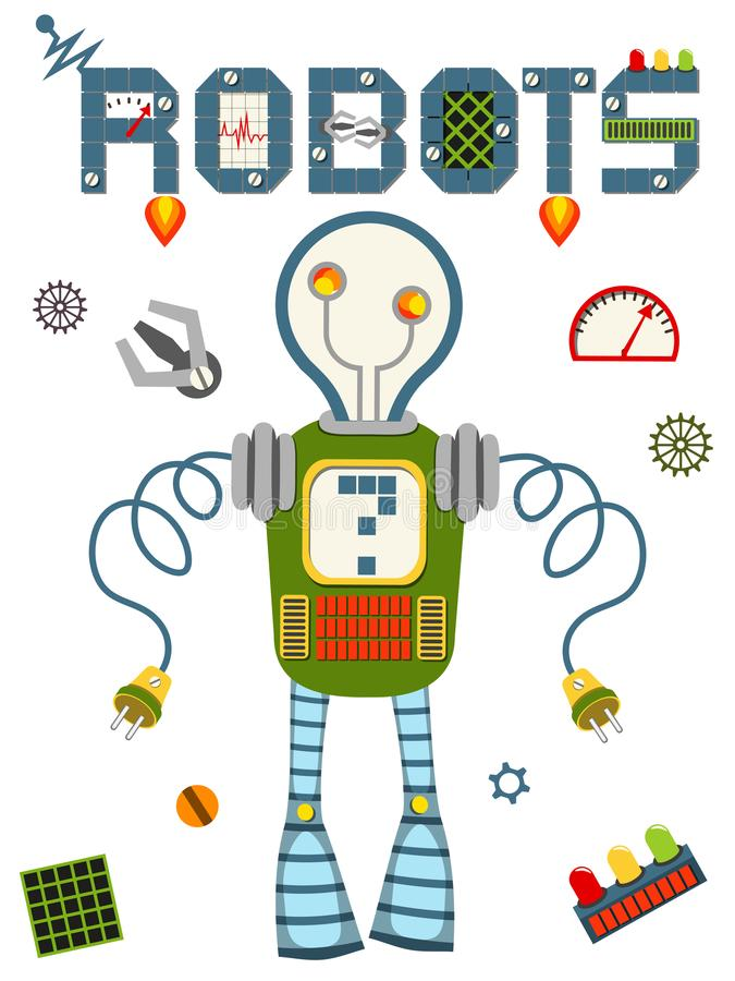Bright colorful poster with vintage robot and tech on white background. royalty free illustration