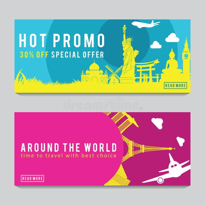 Bright and colorful promotion banner with pink and blue color for World travel,silhouette art design stock photos