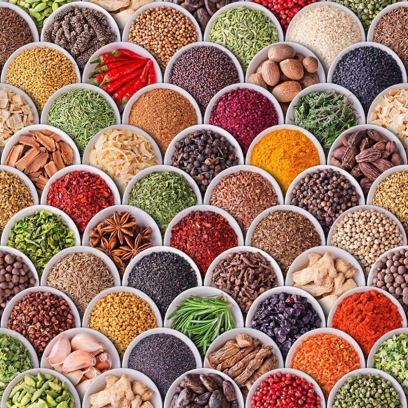 Seamless texture with spices and herbs royalty free stock images