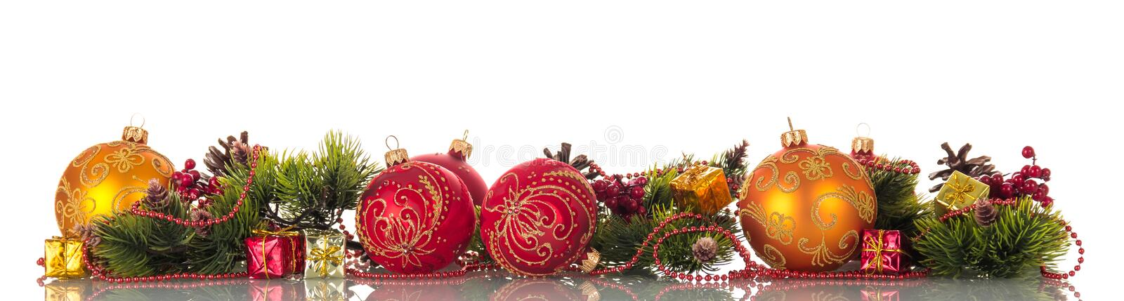 Bright colorful set of ornaments for Christmas tree stock image