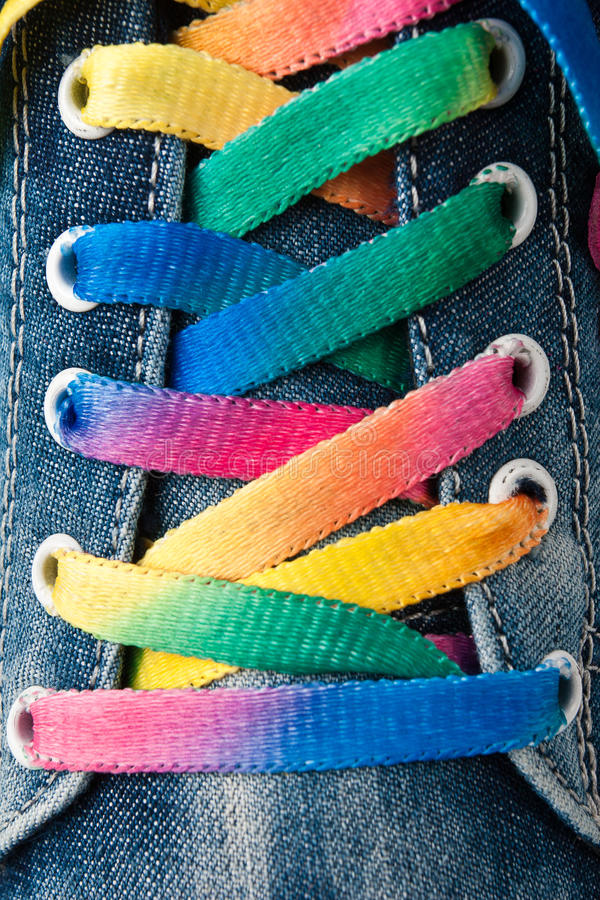 Bright colorful shoelace royalty free stock images