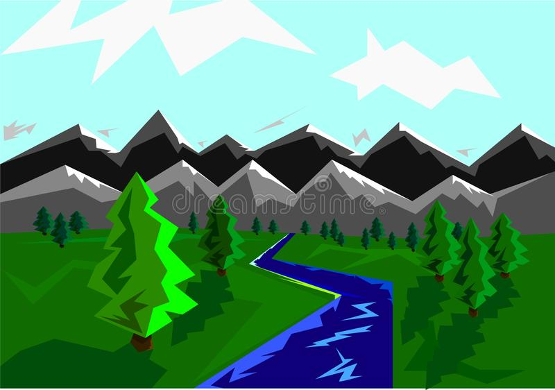 bright colorful spring landscape. Mountains and the river. vector illustration stock photo