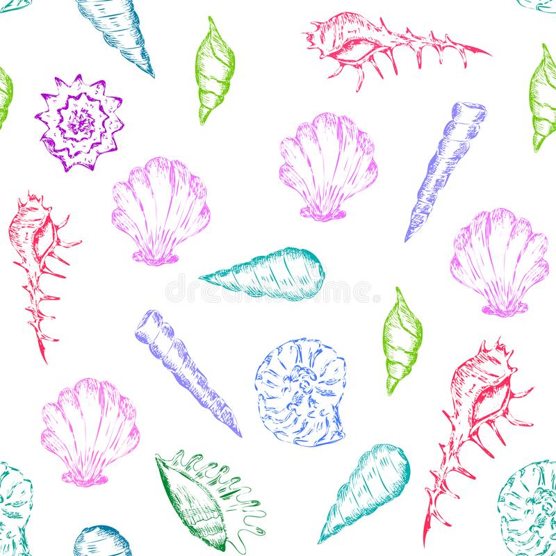 Bright and colorful summer pattern with seashells. Bright and colorfull summer seamless pattern with seashells royalty free stock image