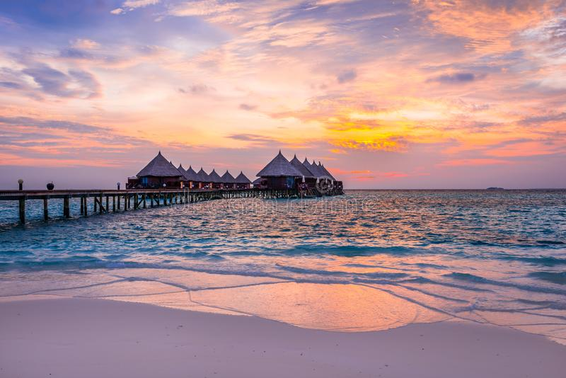 Island for relaxation in the Indian Ocean. Maldives royalty free stock images