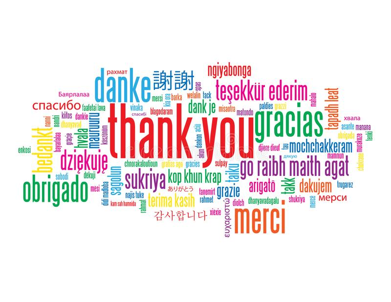 THANK YOU tag cloud with translations royalty free stock photography