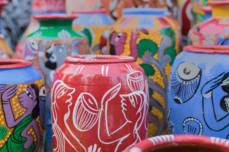 Terracotta pots, Indian handicrafts fair at Kolkata. Bright colorful terracotta pots, works of handicraft, on display during Handicraft Fair in Kolkata - the royalty free stock photo