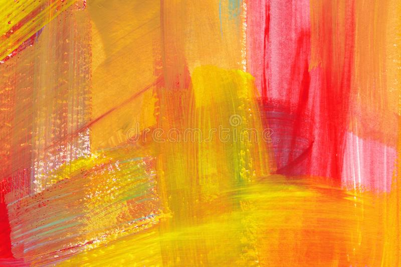 Bright colorful watercolor background. Hand drawn pink, orange and yellow brush strokes. stock illustration