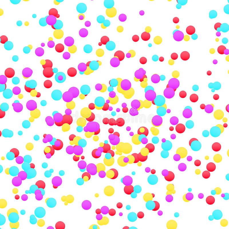 Bright colorful yellow red and blue confetti layout. Festive graphic vivid falling circle particle dust template. Holiday stock illustration