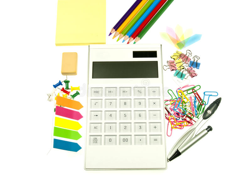 The bright colors of all office supplies royalty free stock image
