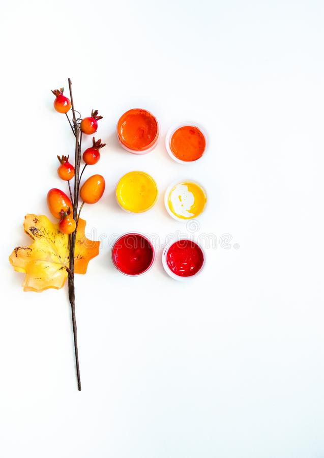 Bright colors of autumn, open acrylic paints and a decorative twig with berries and a leaf on white background, close-up, copy. Space, flat lay vector illustration