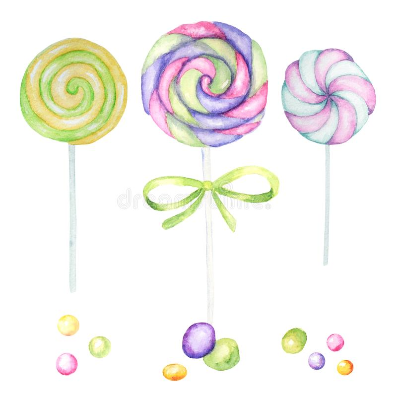 Bright colors candy set. Lollipops bright colors on white background. Watercolor hand drawn candies illustration for. Lollipops bright colors on white background stock illustration