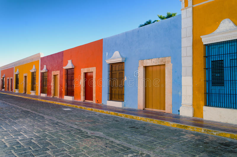 Bright Colors in Colonial Houses. In downtown Campeche, Mexico royalty free stock photography