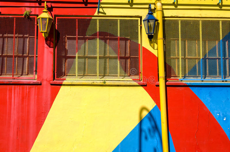 Bright Colors in La Boca. Brightly colored wall in la Boca neighborhood in Buenos Aires, Argentina royalty free stock photos