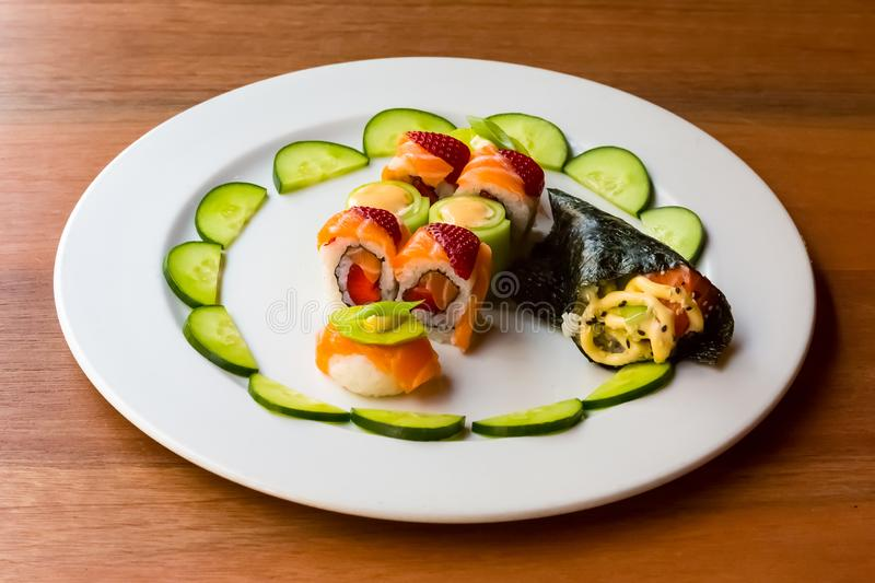 Bright colour Sushi with fruit stock photos