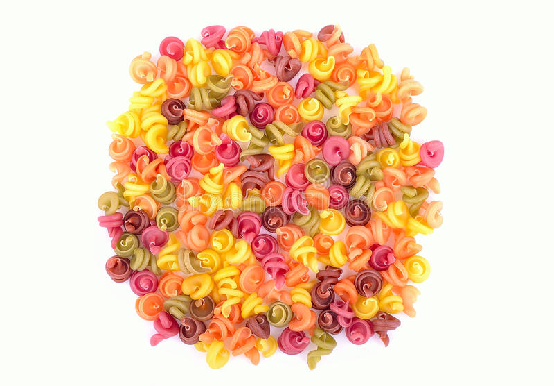 Bright coloured macaroni stock image