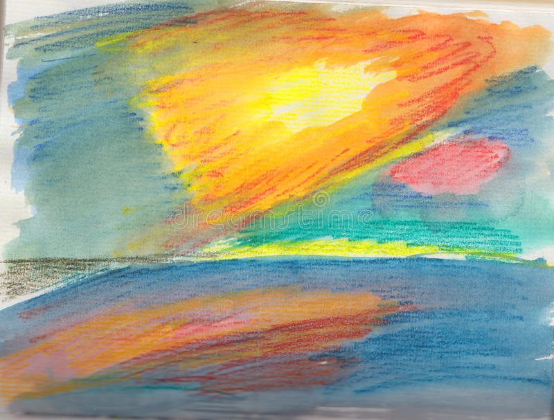 Bright coloured sketch of a sunset over the sea. royalty free illustration