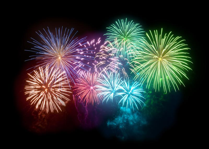 Bright Colourful Fireworks Filling The Night Sky royalty free illustration