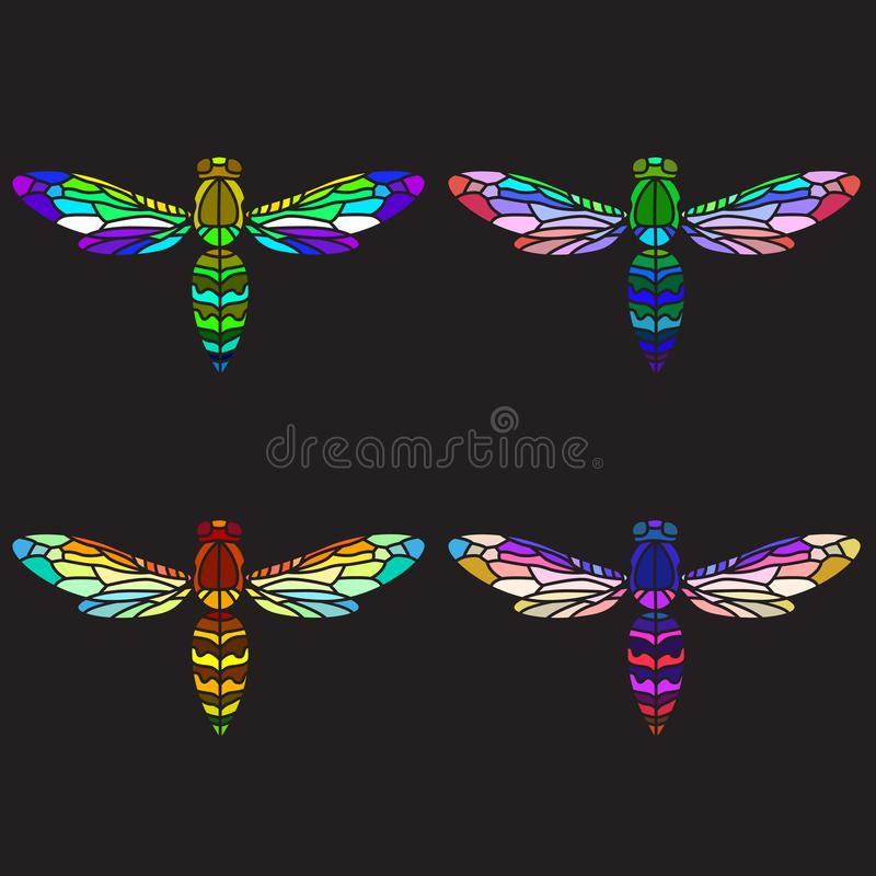 Bright colourful wasps. Set of mosaic wasps or bees or hornets, colorful wasps, dark background, stained-glass bees vector illustration