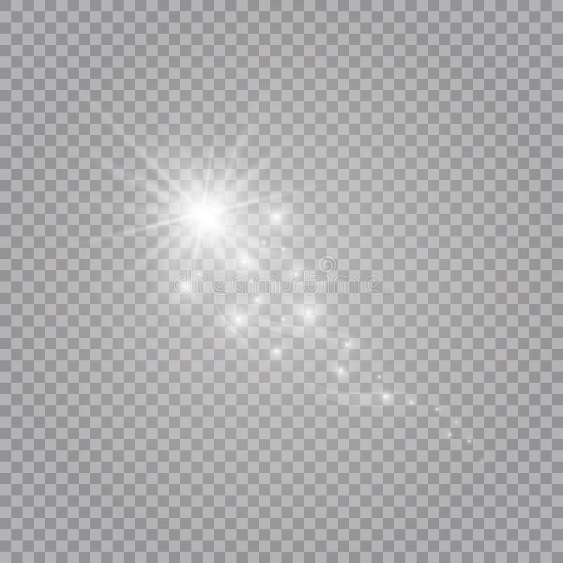 A bright comet with . Falling Star. Glow light effect. Vector illustration. EPS 10 royalty free illustration
