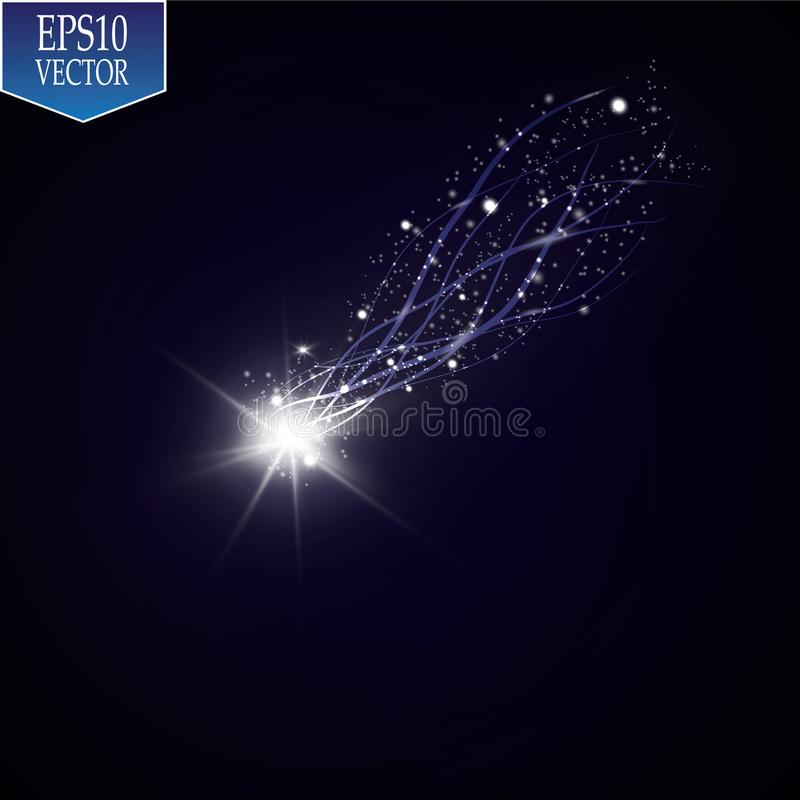 A bright comet with large dust. Falling Star. Glow light effect. Vector illustration. EPS10 royalty free illustration