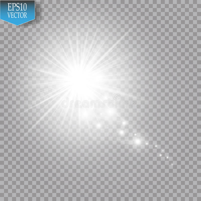 A bright comet with large dust. Falling Star. Glow light effect. White lights. Vector illustration vector illustration