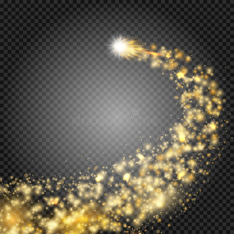 Bright comet with large dust. Falling Star. Really transparent effect. Glow light effect. Golden lights. Vector royalty free illustration