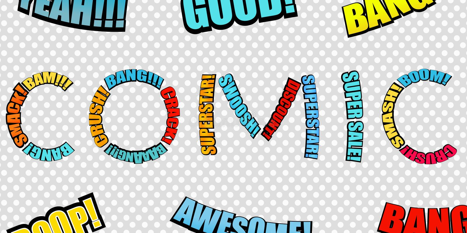 Bright comic inscription. Consists of colorful wordings on gray dotted background. Vector illustration royalty free illustration