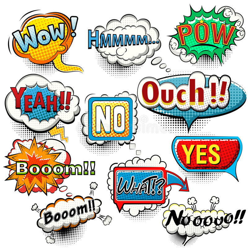 Bright comic speech bubbles screams, phrases, sounds royalty free illustration