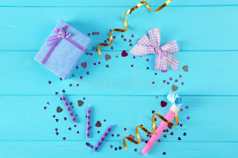 Bright confetti and gift box royalty free stock images