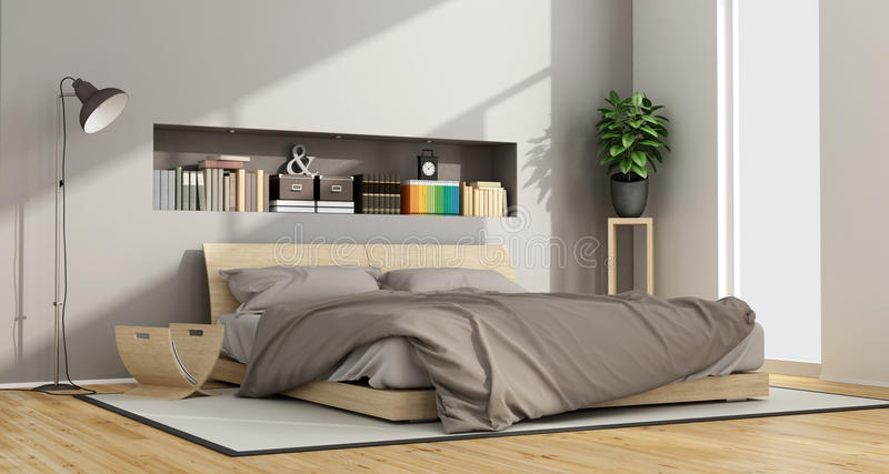 Bright Contemporary bedroom. With wooden double bed and niche with objects - 3D Rendering stock illustration