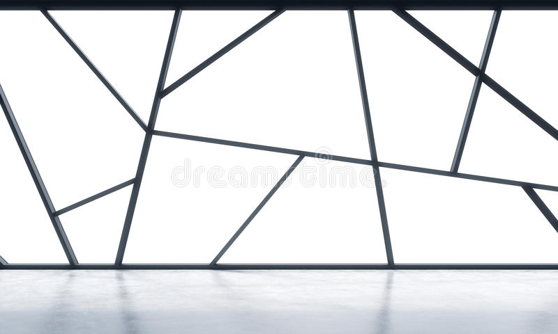 A bright contemporary panoramic empty office space with white copy space in the windows. The concept of highly professional financ. Ial or legal services. 3D royalty free illustration