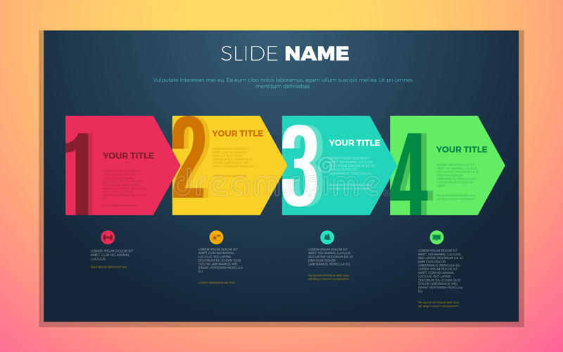 Bright contrast colors infographic with step by step infographic chart, boxes and numbers royalty free illustration
