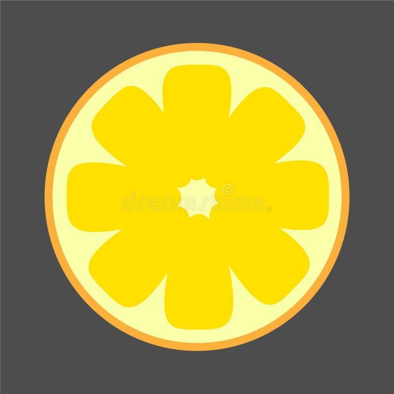 Bright Contrast Cutaway Lemon Illustration royalty free stock images