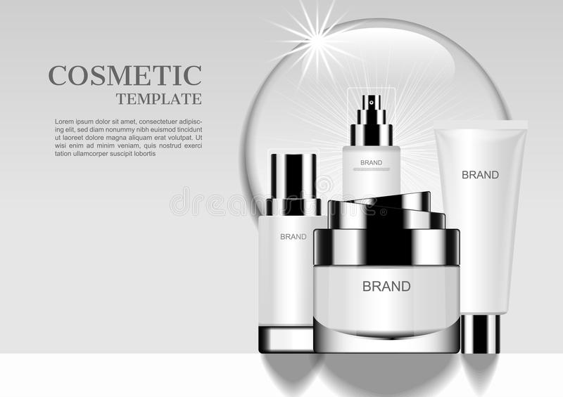 Bright cosmetic set with round water drop and glowing light on w. Hite background