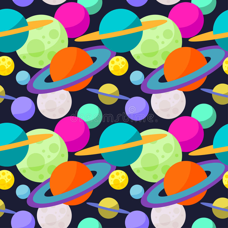 Bright cosmic seamless pattern background with funny cartoon planets in open space vector illustration